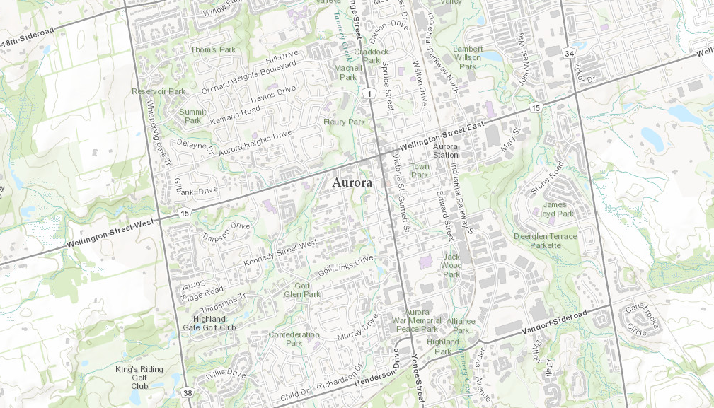 Map of the Town of Aurora