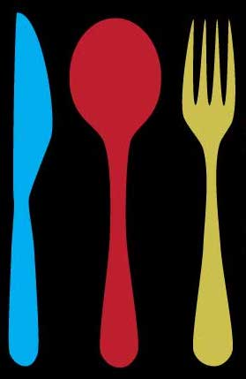 Picture of a blue knife, red spoon and yellow fork