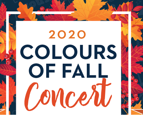 Logo with orange and red maple leaves with words 2020 Colours of Fall