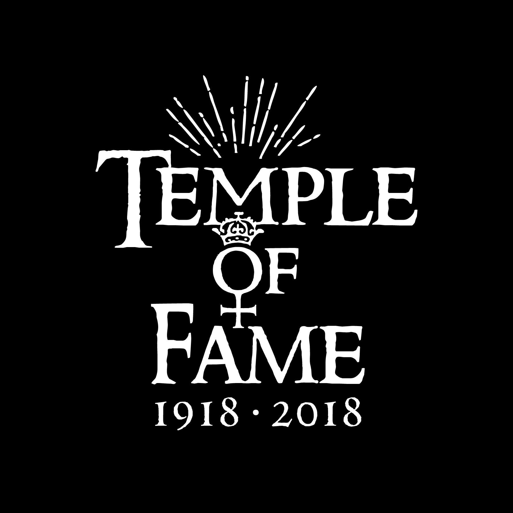 Black background logo with words Temple of Flame
