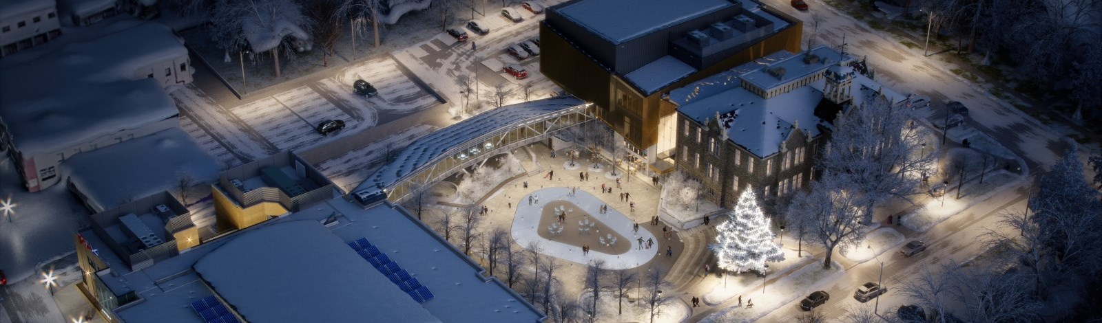 Library Square Aerial Rendering
