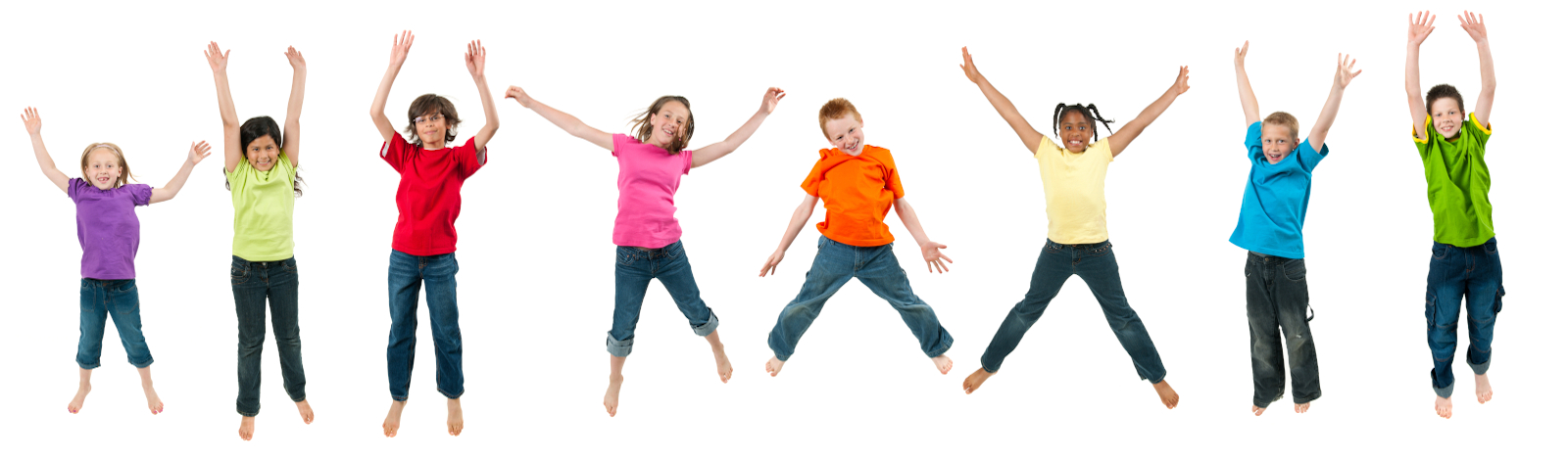Group of children jumping up