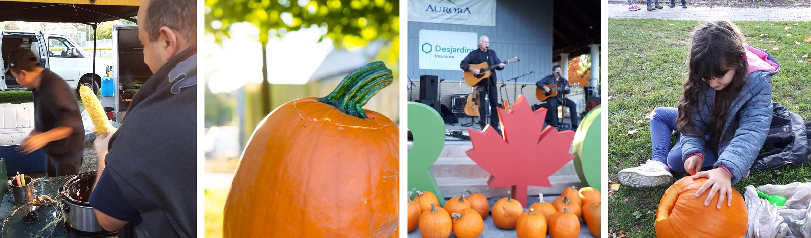Photos from event - corn on the cob, pumpkin carving, concert