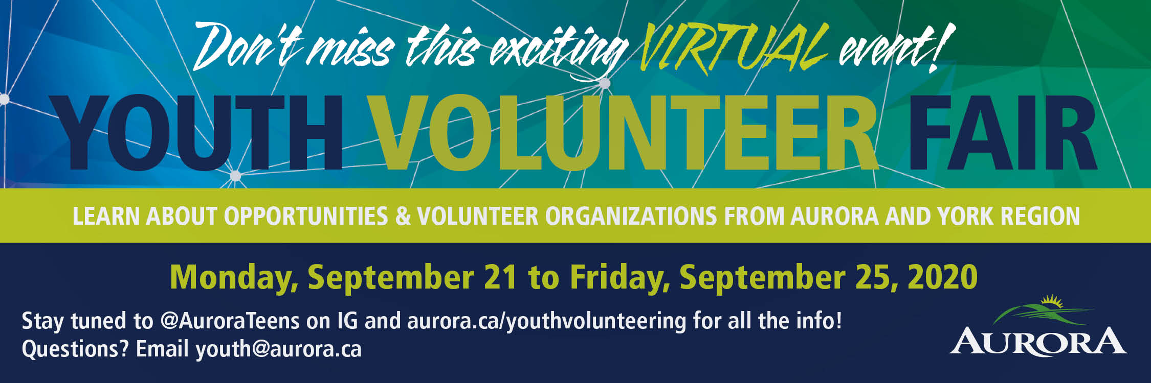Youth volunteer fair September 21 to 25 virtual event