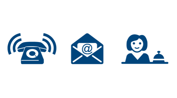 Graphic of telephone, letter mail and person