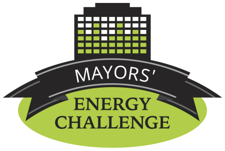 Mayors Energy Challenge logo with green and black with words that say Mayors Energy Challenge